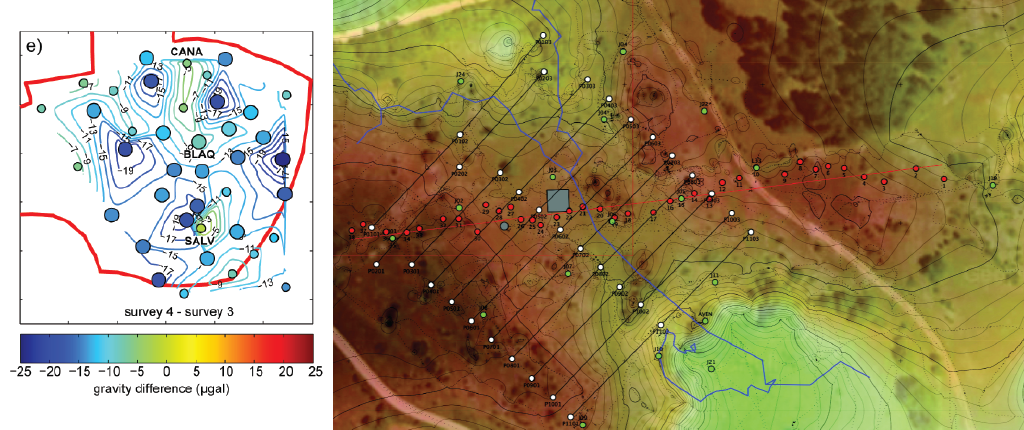 Topography and gravimetric measurement on the Larzac site